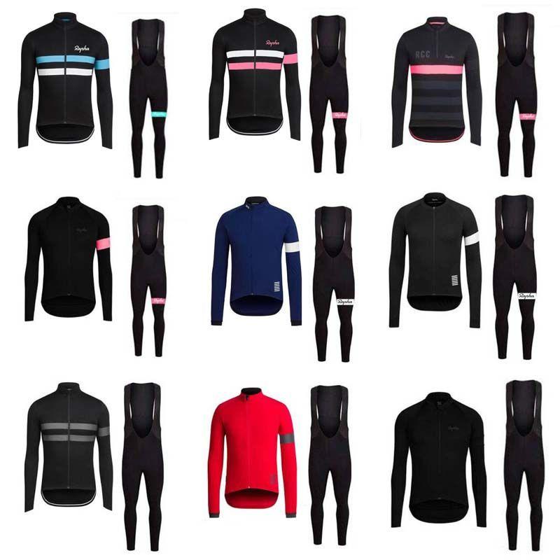 Erkekler Rapha Bisiklet Formaları Set Uzun Kollu Güz Bisiklet Giymek Rahat Nefes Yeni Yarış Takım Elbise Bib Pantolon Setleri Y20112103