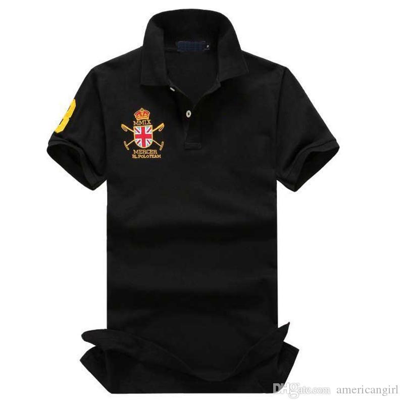 Tamaño grande para hombre Polo T Shirts con bordado Big Horse Logo Designer de manga corta transpirable polo casual camisetas