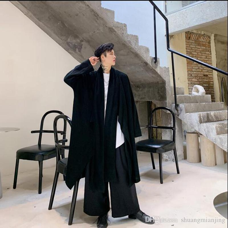 Gothic men long Spring autumn loose Long trench coat mens Solid color Casual Windbreaker New Male Cardigan outerwear