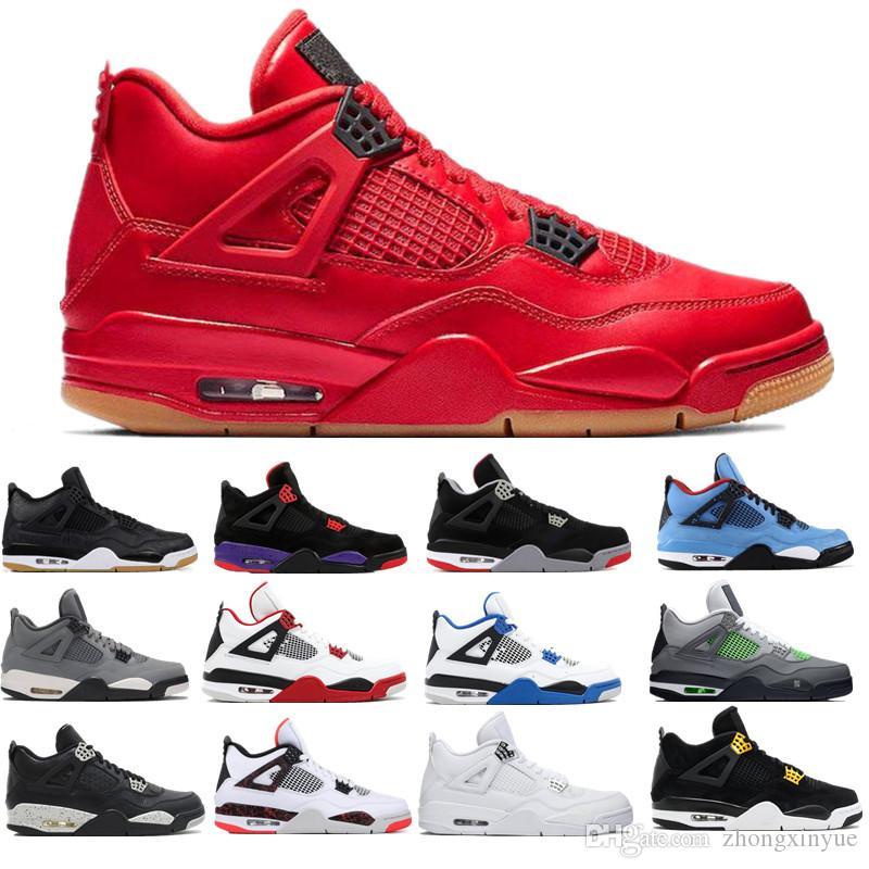 Los nuevos Mens zapatillas de baloncesto 4 Rush azul violeta Leal algo cabron gris pálido CIDRA 4s RAPTOR tamaño de los deportes atléticos de las zapatillas de deporte 7-13