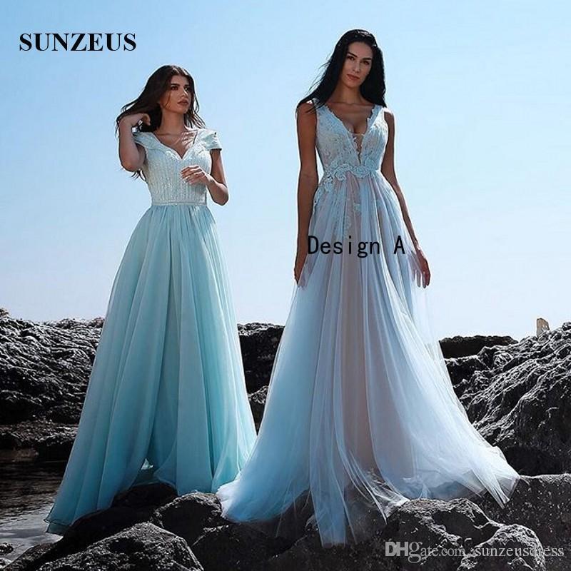 Аппликации небесно-голубой тюль вечерние платья новый 2019 арабский дизайнер длинные вечерние платья шампанское подкладка-line V-образным вырезом партии носить женщин