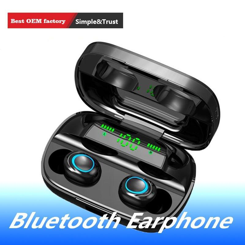 1 PCS S11 TWS Bluetooth 5.0 cuffie in-ear IPX5 impermeabile Noise Reduction banca di potere nero / bianco Wireless Headset