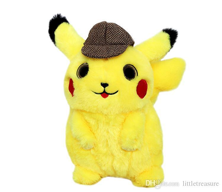 2020 Detective Pikachu Plush Toy Kids Soft Stuffed Animals Kawaii