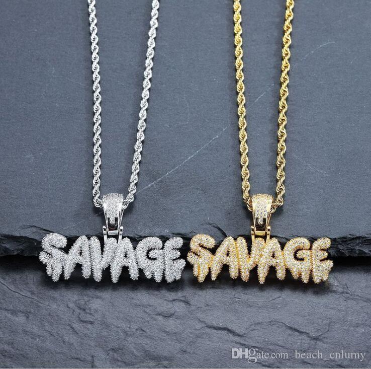 Erkekler Hip Hop Mektubu Kolye Pirinç Altın Renk Buzlu Out Zincirleri Mikro Pave Küba Kübik Zirkon Vahşi Erkekler Hediyeler için Savage Kolye Kolye Charm