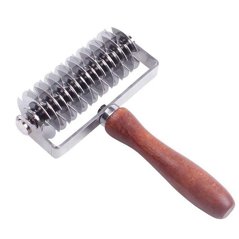 BMBY-enrejado de acero inoxidable del cortador del rodillo de pastelería Pan Pizza Pie de la rueda de masa Cortador de bricolaje para hornear