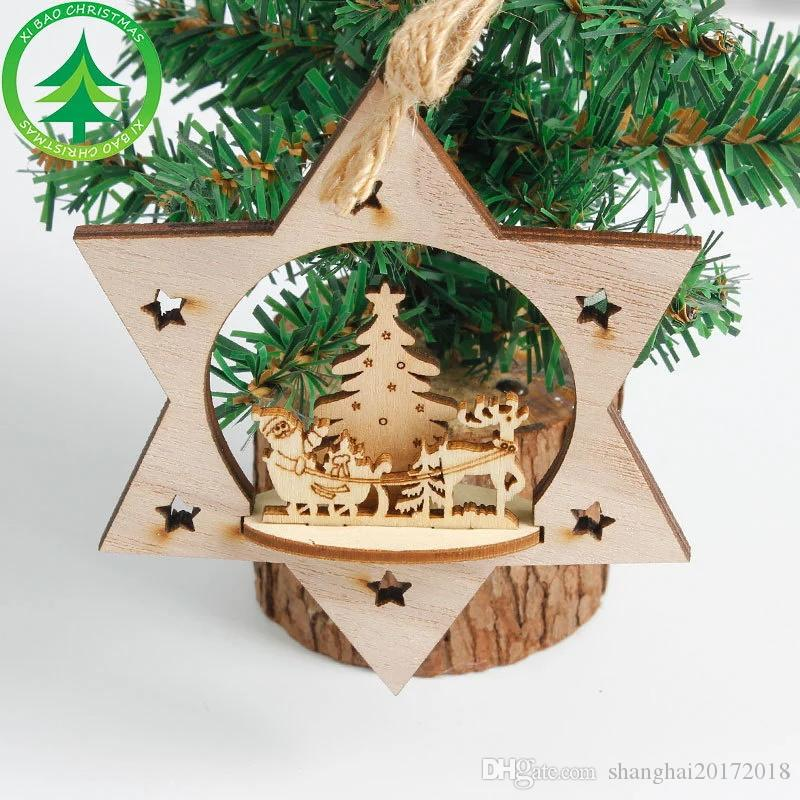 Christmas Decoration Wood Heart Tree Bell Hanging Decor Xmas Three-dimensional Decoration for Home Christmas Tree Pendant