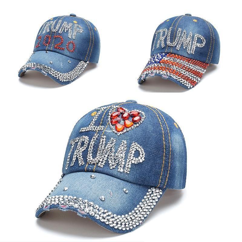 Presidente degli Stati Uniti elezione 2020 Donald Trump Hat 3 stili Denim Presidente diamante ricopre i cappelli da baseball registrabili Snapback Donne Outdoor Sports Cap