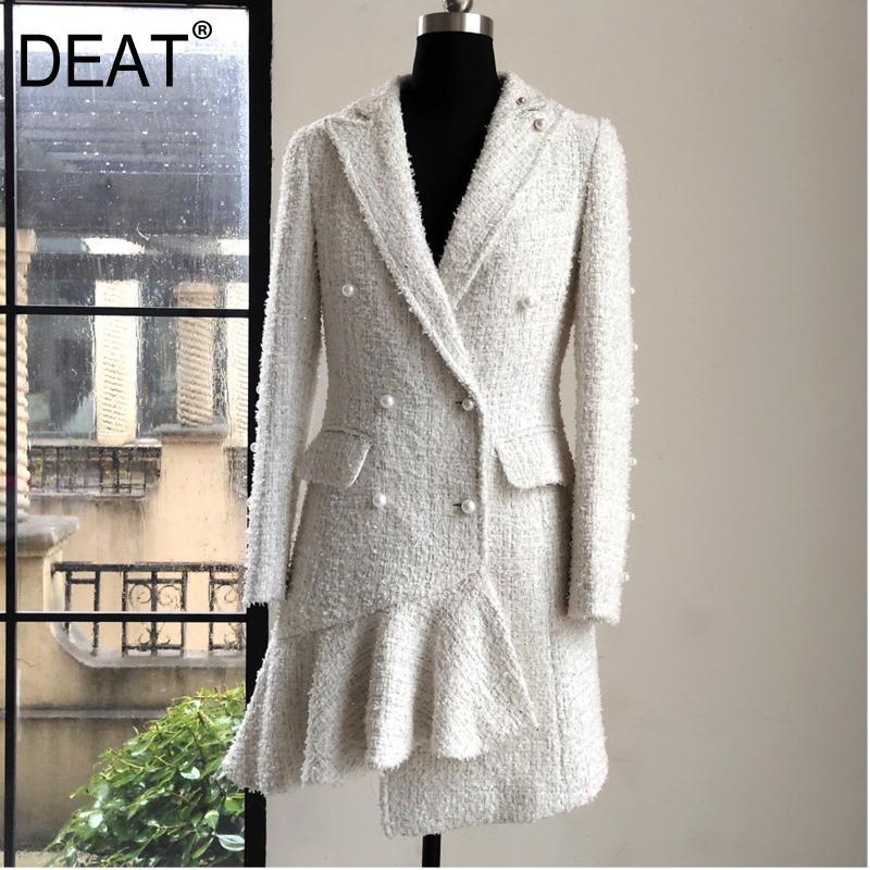 DEAT 2020 новые летние стили моды для женщин Одежда Thin зубчатым воротником Полное Рукав Pearl Двойной Брестед шерсти платье WG02400L