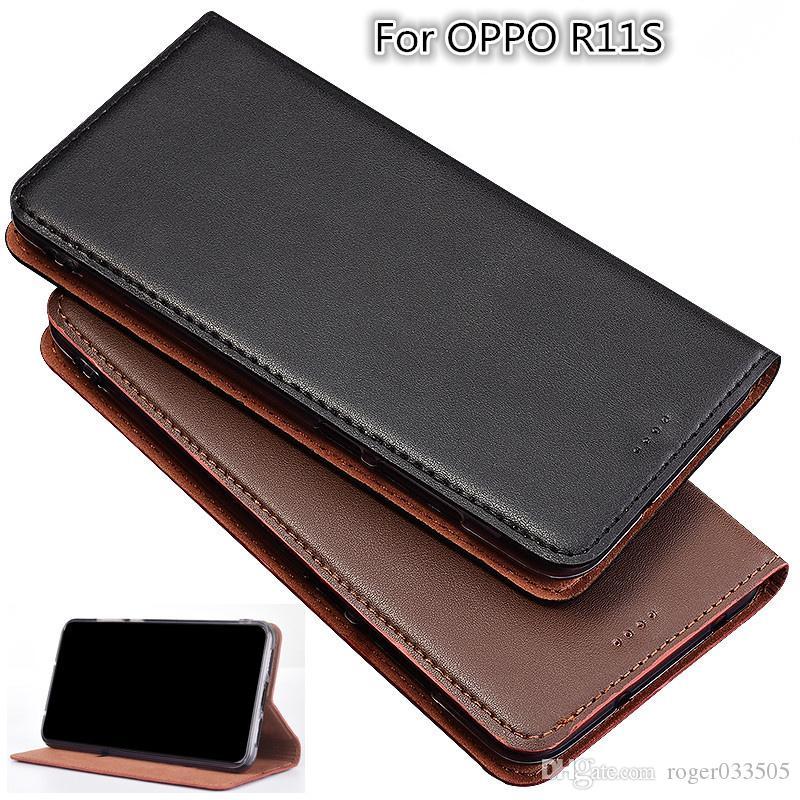QX05 Genuine Leather Magnetic Phone Bag Kickstand For OPPO R11S Case For OPPO R11S Phone Case Card Slot