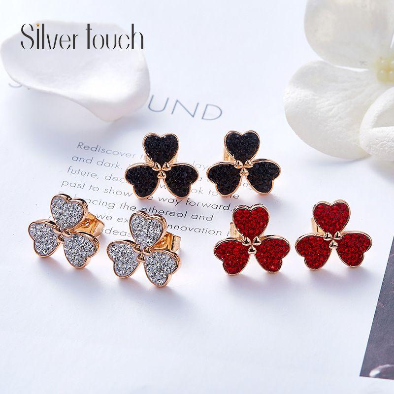 Fashion-Swarovski Crystal Fashion Ear Nails for New Simple and Fresh Clover Ear Nails
