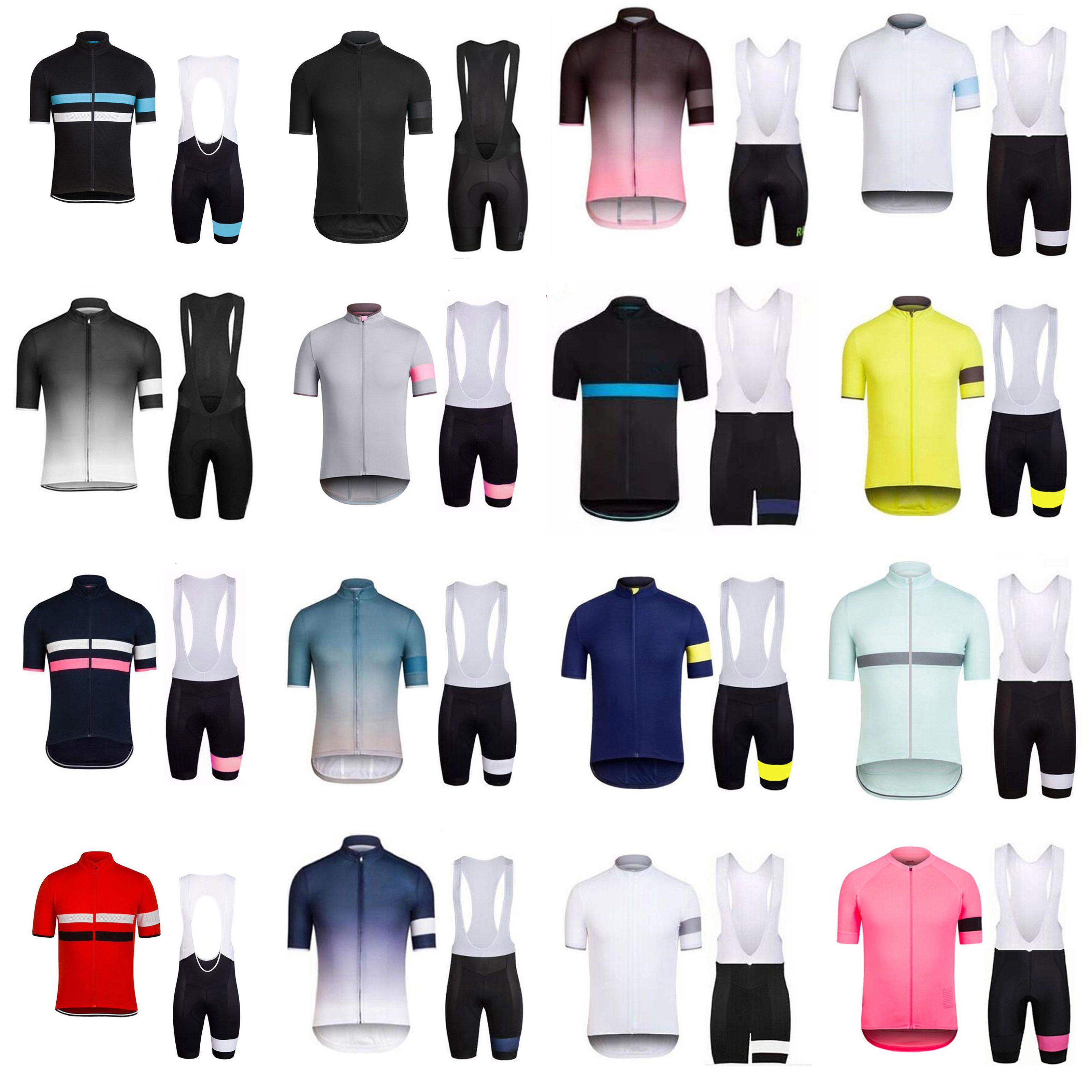 Rapha فريق الدراجات قصيرة الأكمام جيرسي (مريلة) السراويل مجموعات سباق الملابس الرياضية دراجة الدراجات تنفس الملابس E0550