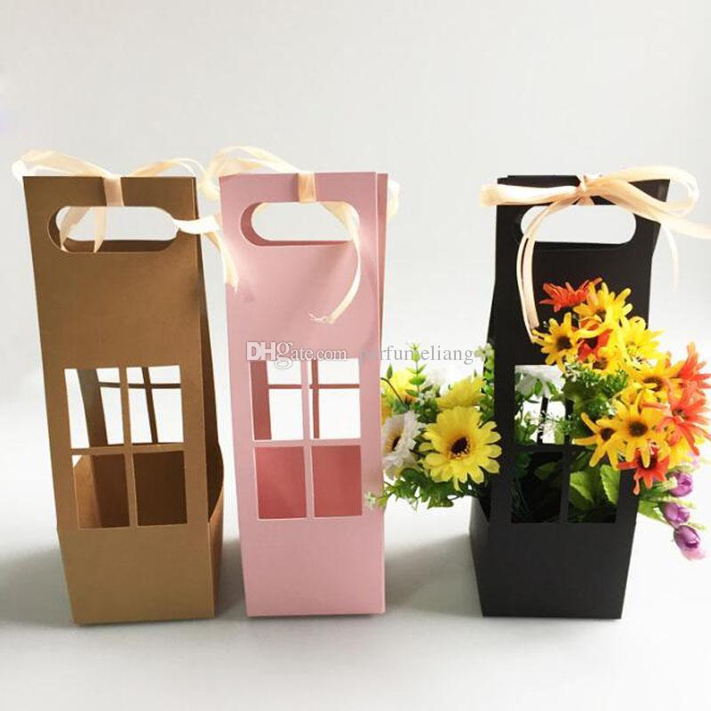 Handhold Flower Window Box Cajas de regalo de papel a prueba de agua para el empaquetado de flores Decoración Handhold Floral Bucket ZC0104