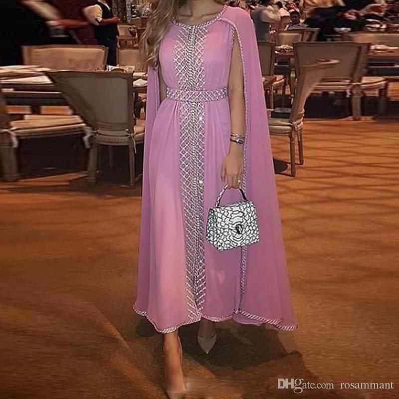 Вечерние платья из бисера и кристаллов A-Line Длинные платья для выпускного вечера с оборкой Jewel Neck Шифон Вечерние платья A Line Короткие платья выпускного вечера