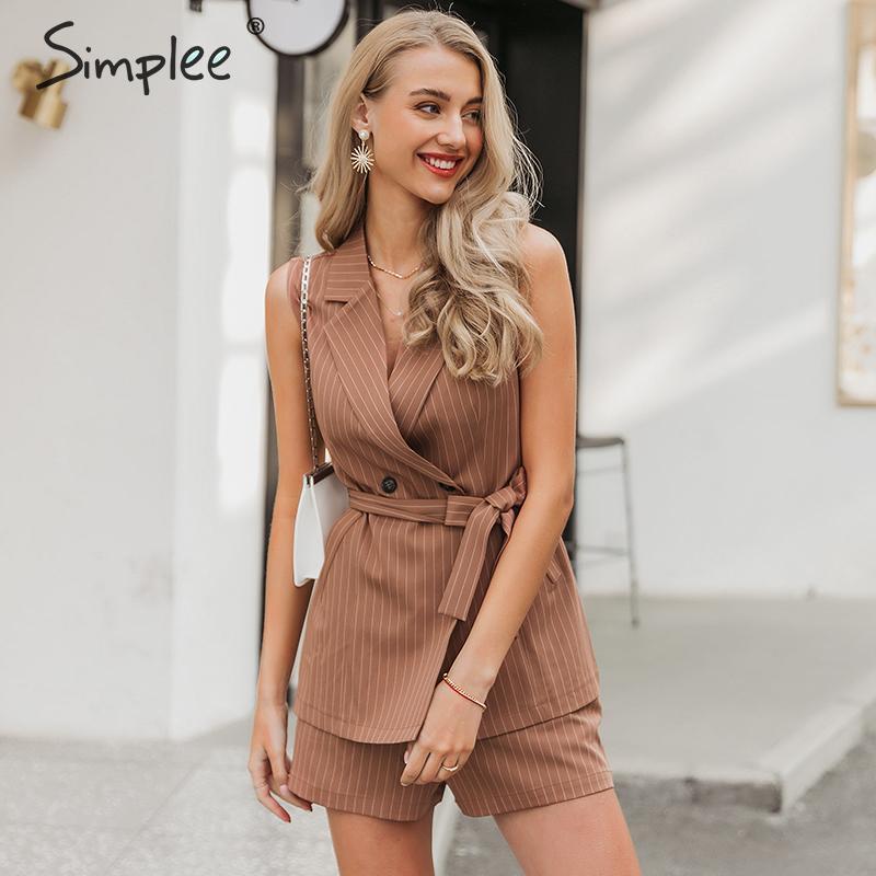 Simplee sem mangas elegante blazer colete terno listrado cinto faixa jaqueta feminina calções conjunto duplo breasted mulheres sets verão Y200512