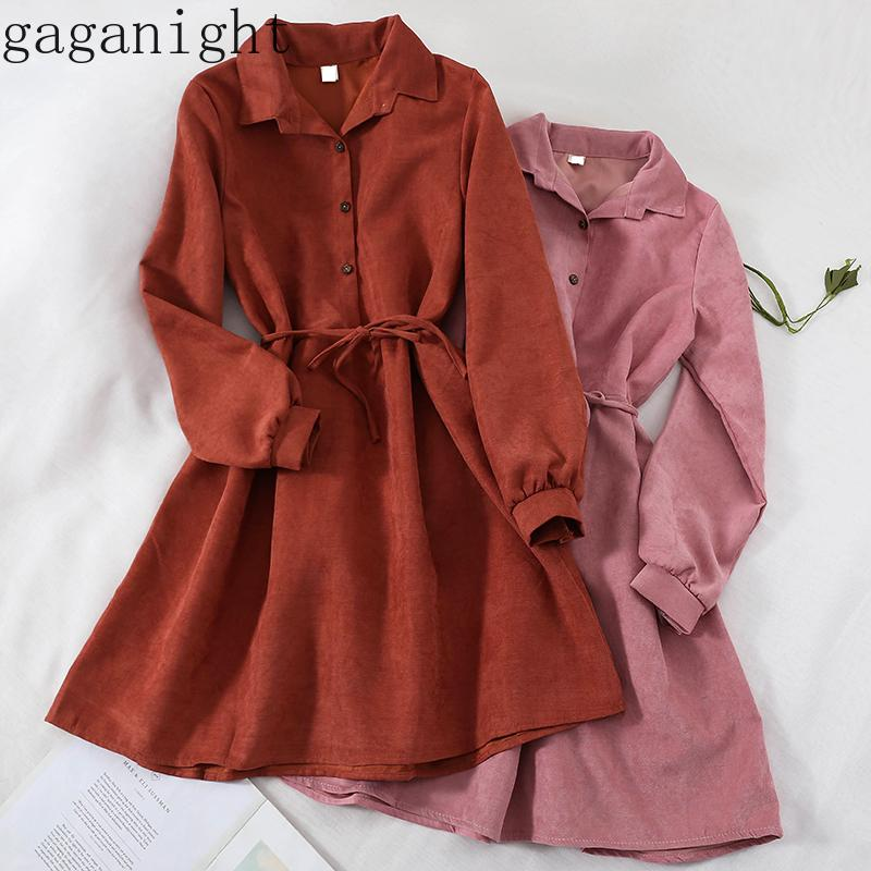 Gaganight Kadınlar Sonbahar Kış Maxi Elbise 2019 Yeni Moda Vintage Uzun Kollu Sashes Düğme Bayanlar Elbise Kore Chic vestidos Y200103