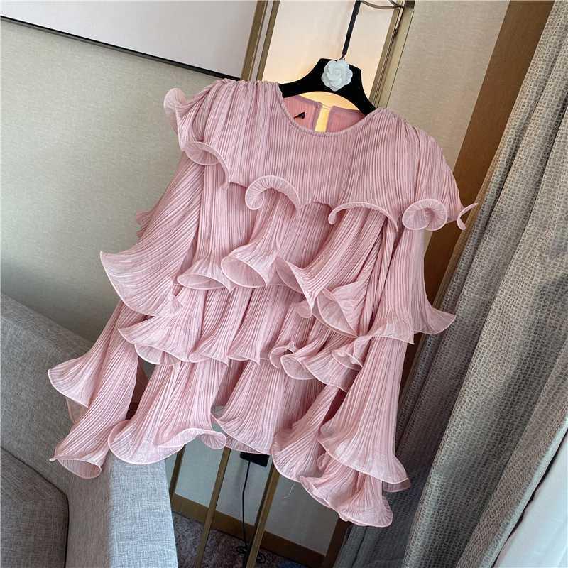 Moda Sweet Plise flounced Zayıflama Kapak Göbek şifon Bluz Bayanlar Lotus Yaprak Gömlek Bluz Kadınlar Ropa De Mujer Bayan Üst
