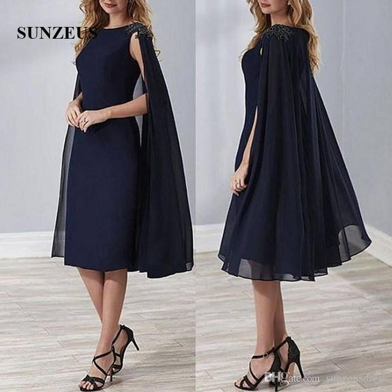 Sheath Knee Length Navy Blue Chiffon Mother Dress With Cape Back Beaded Cap Sleeves Elegant Mother Of The Bride Dress Lady Formal Gowns