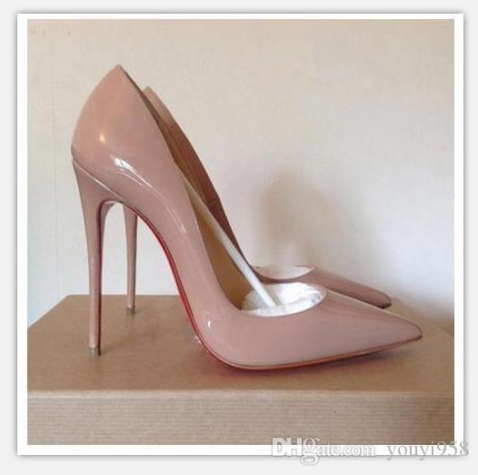 2020 HOT Calçados Femininos Red Bottoms Salto Alto Sexy Sapato de bico fino Red Sole 8 centímetros 10 centímetros 12 centímetros Bombas Vem com sacos de pó sapatos de casamento