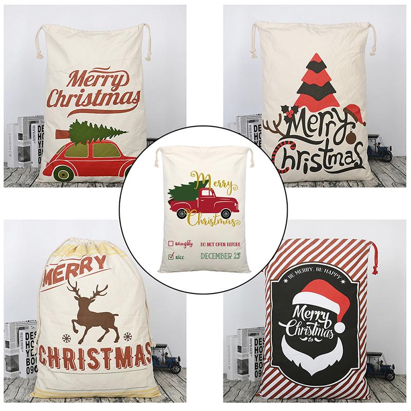 New Year Gift Santa Sacks Canvas Claus Bag Custom Christmas Canvas Gift Bags Big Size 19.69 X 27.56in/50X70cm