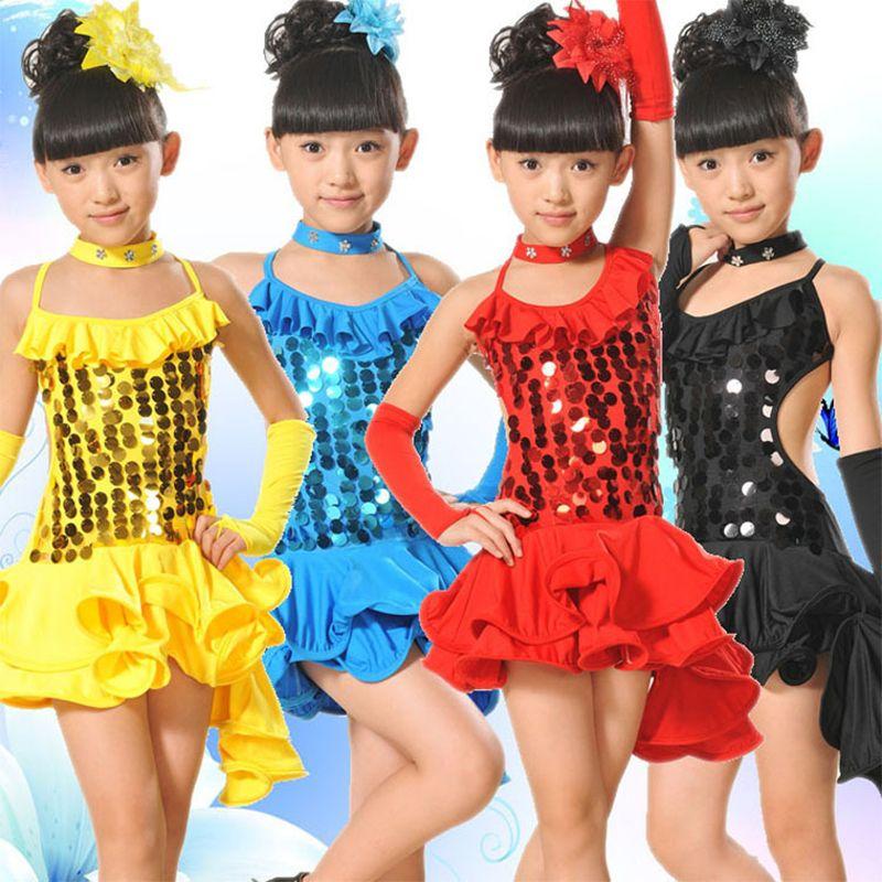 Costumi latino per bambini paillettes Backless danza Vestito per le ragazze dancewear latino gonna bambini Ballroom Samba Dance indossare abiti