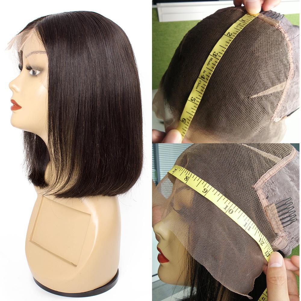 KISSHAIR corto Bob peluca 13x6 frente del pelo humano de 13x4 encaje pelucas 6 8 10 12 14 pulgadas remy indio brasileño Malaysian pelo