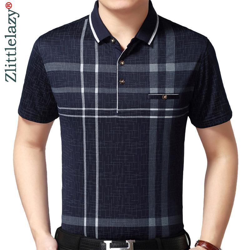 핫 진짜 포켓 보디 짧은 소매 폴로 셔츠 남자 격자 무늬 폴로 여름 폴 티 셔츠 망 드레스 폴로 셔츠 저지 1398 SH190718