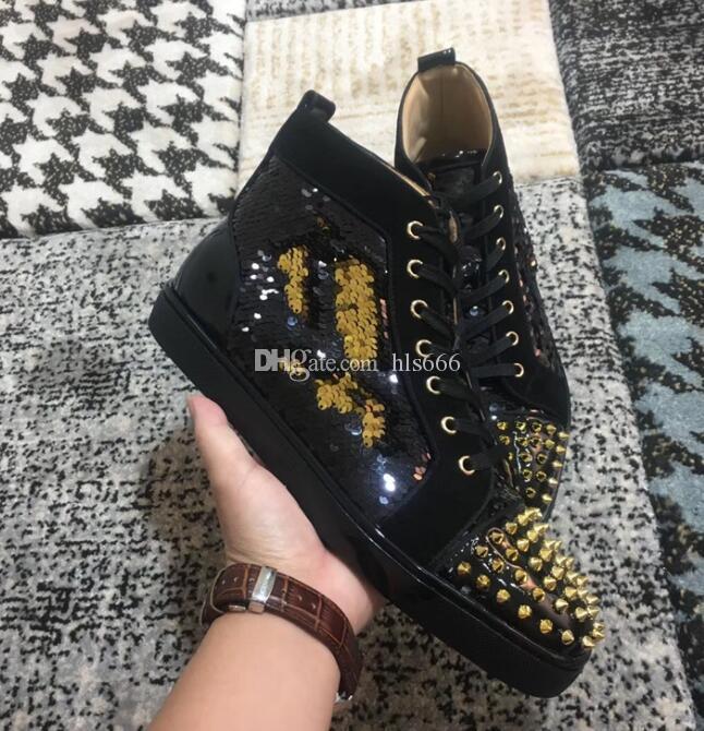 Moda de la boda del top del alto de las mujeres de lujo, Hombres Negro lentejuelas de los calzados informales de alta calidad Red Bottom diseñador zapatillas de deporte famosas del partido del vestido con la caja