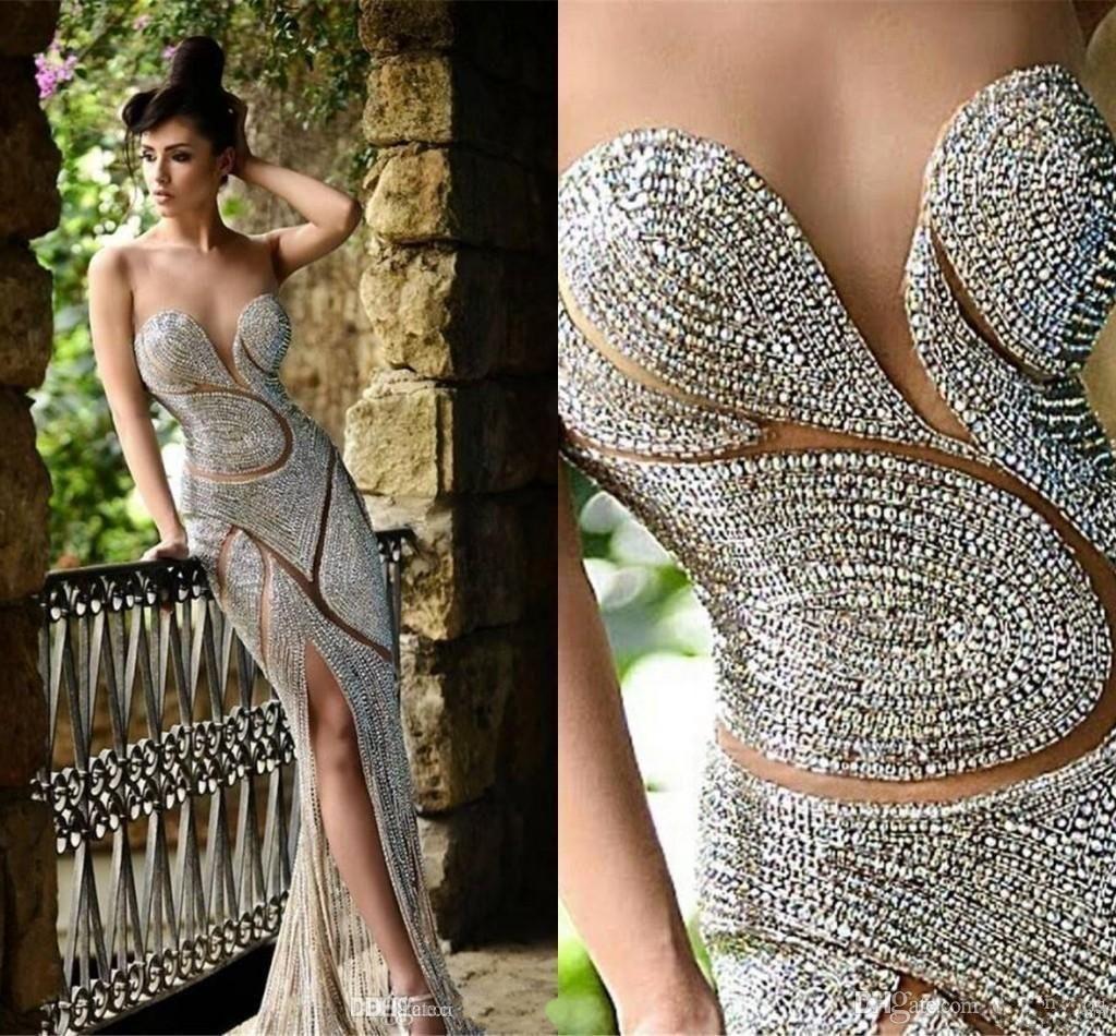 2020 Nouveau bling Rami Salamoun fendus de soirée Illusion cou Sheer Major perles en cristal gaine Sheer Jupe Celebrity Prom Party Robes