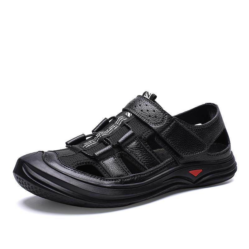 Летние мужские пляжные сандалии высокого качества из натуральной кожи Soft Мужская повседневная обувь Мода дышащий Ходьба мужчин удобную обувь