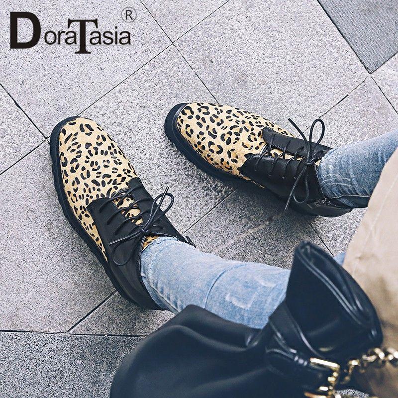 Doratasia وصول جديدة حقيقية الحصان الفراء الشقق مختلط لون الدانتيل يصل منصة مسطحة جلد طبيعي حذاء امرأة زائد الحجم 33-43