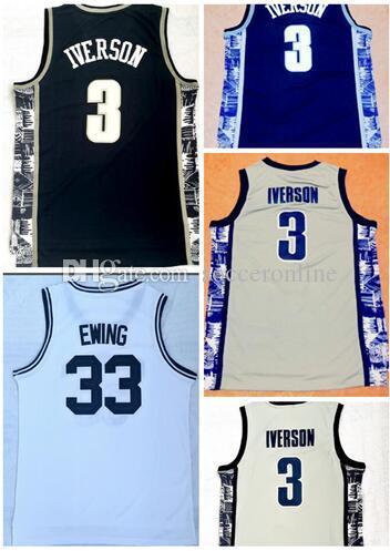 Satılık formaları için Georgetown Iverson 3 Koleji Basketbol giyim, Ewing 33 Iverson 3 Eğitmenler Koleji Basketbol formaları, fan dükkanı online mağaza