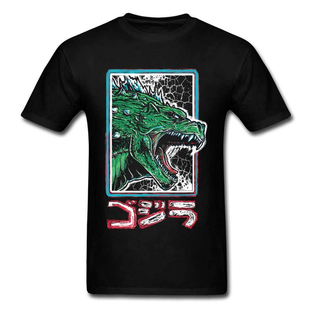 Radioactif Roi T-shirt Hommes Noir T-shirt Godzilla Tshirt Japon Anime Vêtements Été Coton Tissu Tops Fou Tee Shirts