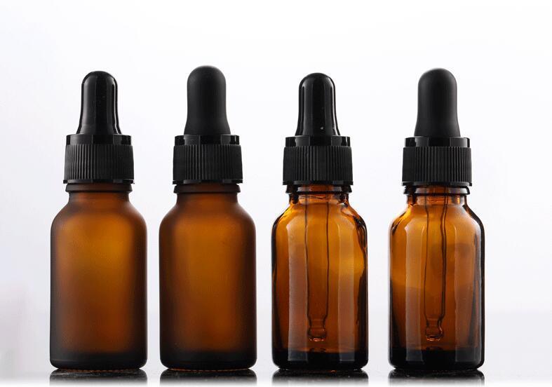 15ml marrone satinato essenziale bottiglia di vetro di olio di vetro traslucido luce flacone contagocce smerigliato piccola bottiglia marrone