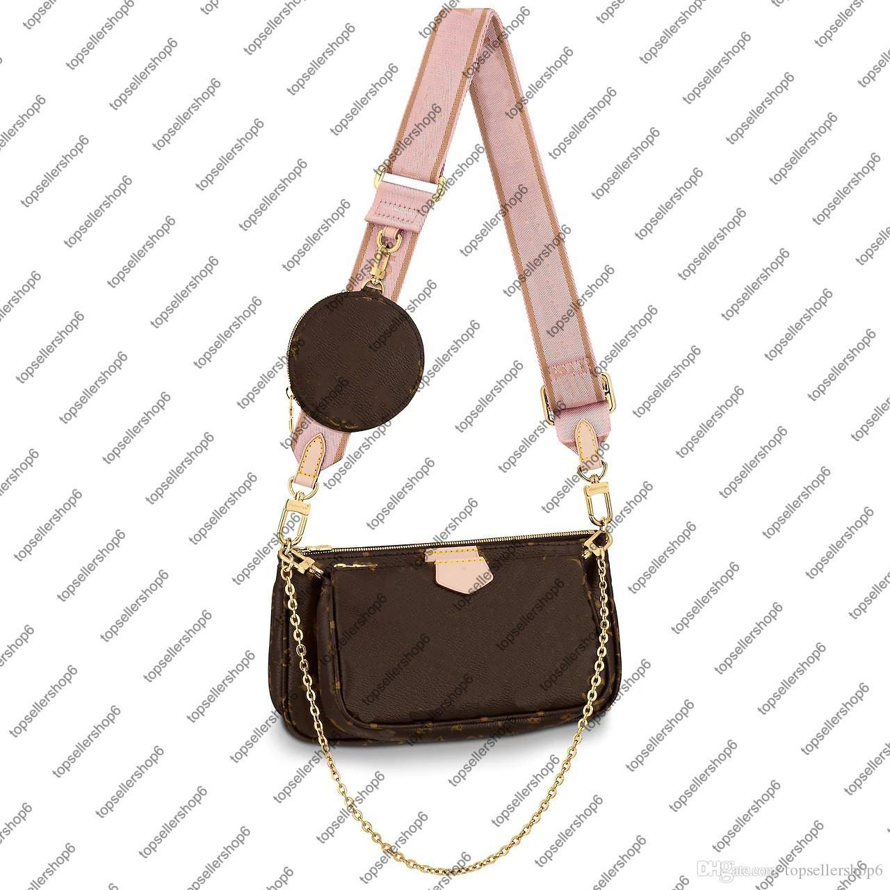 M44840 متعددة pochette accessoires جولة عملة محفظة المرأة قماش البقر الطبيعي جلد البقر مصغرة اثنين pochettes محفظة حقيبة الكتف حقيبة