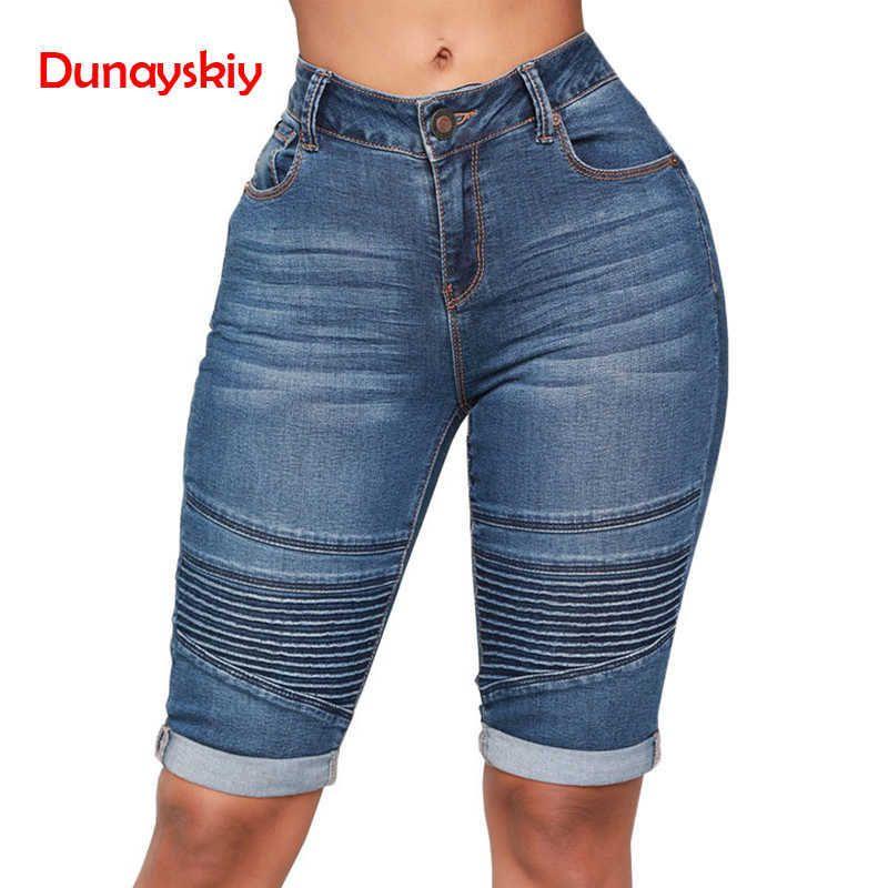 Jeans skinny Donna Pantaloncini di jeans elastici a vita media Pantaloncini jeans elasticizzati curvi lunghi al ginocchio donna estate 2019 Nuova primavera Y19072301