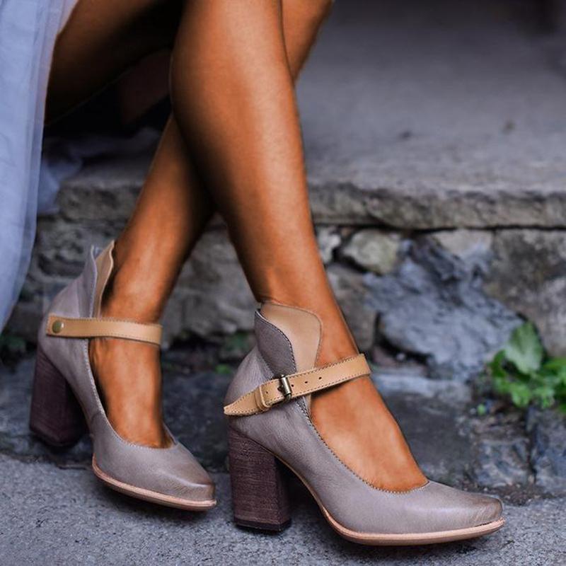 Moda Kadın Sandalet Pompaları Yüksek Topuklu Ayak Bileği Kayışı Yaz Rahat Konfor Kalın Alt Sandalet Ayakkabı Kadın Sandalias
