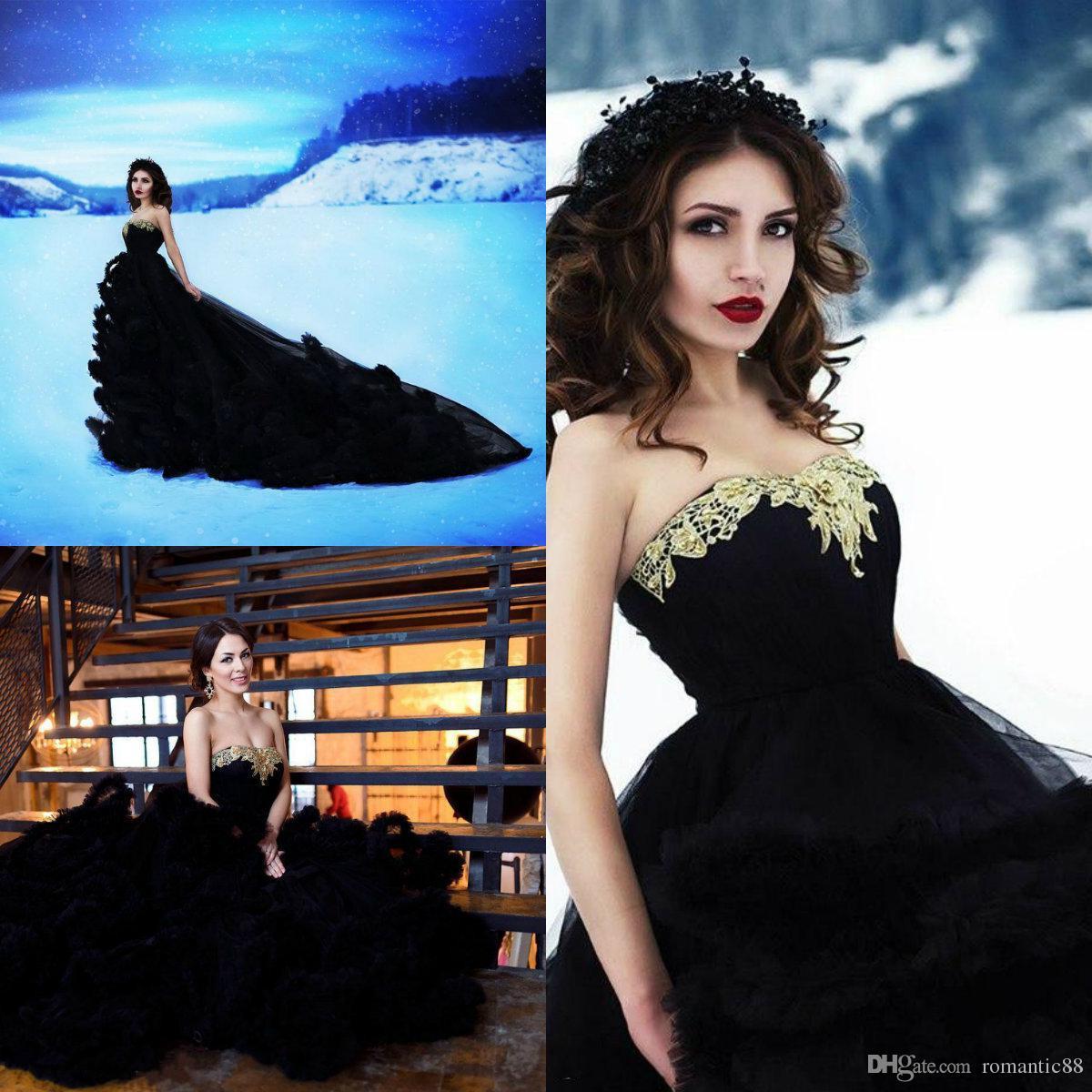 2019 Vintage черный Свадебные платья Милая Аппликация линия Большой оборками суд поезд Boho свадебное платье сшитое Bohemian Свадебные платья