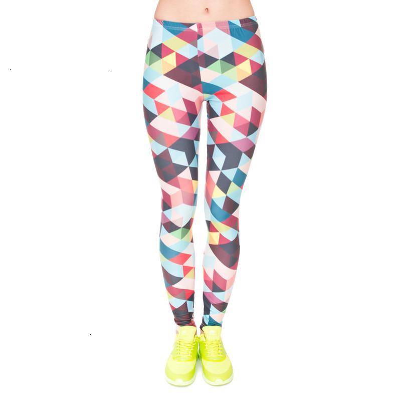 Polainas de las mujeres nuevas de la manera mujeres de la marca color de la geometría de impresión de alta aptitud elástico Legging Pantalones Pantalones Leggingswomen envío de la gota