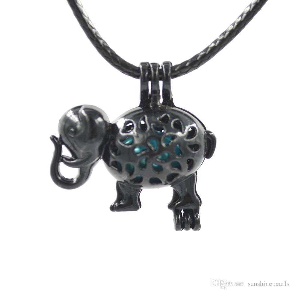 Black Pearl Cage Beads Käfig Medaillon Anhänger Aroma Ätherisches Öl Diffusor Medaillon DIY Halskette Ohrringe Armband Schmuck