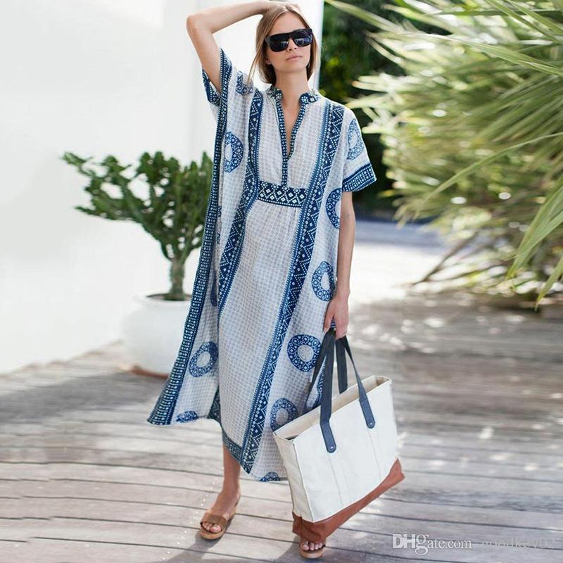 2020 robe de plage maxi dalla spiaggia vestito di bagno up copertura del vestito Abito Bohemian Sarong Beachwear di estate delle donne Kaftan Beach Pareo