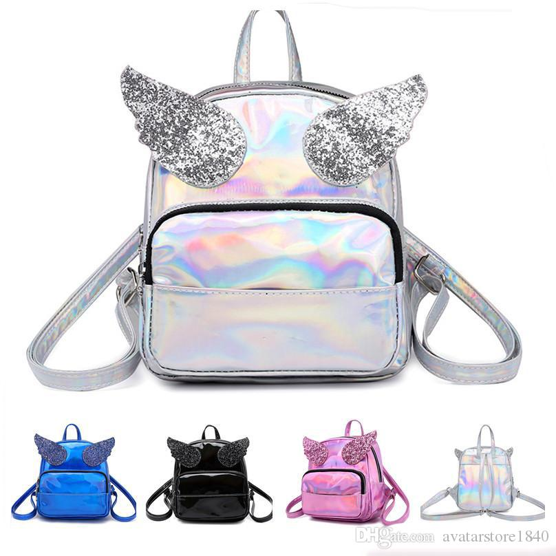 Holographic Angle Wings Backpack New Design Cute Laser Mini Small PU Backpack Women Girls Travel Shoulder Bag Bling Sequins Angle Wings Bags