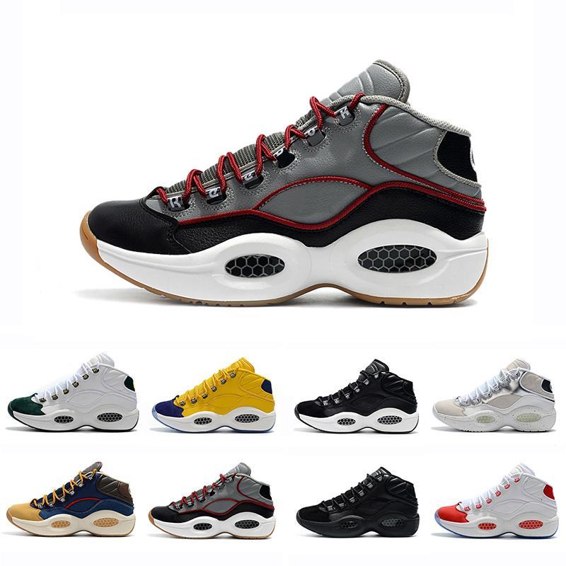 Tasarımcı Ayakkabı Allen Iverson Soru Orta Q1 Basketbol Ayakkabı Cevap Yakınlaştırma Erkek Atletik lüks Elit Spor Sneakers EU40-46 1s