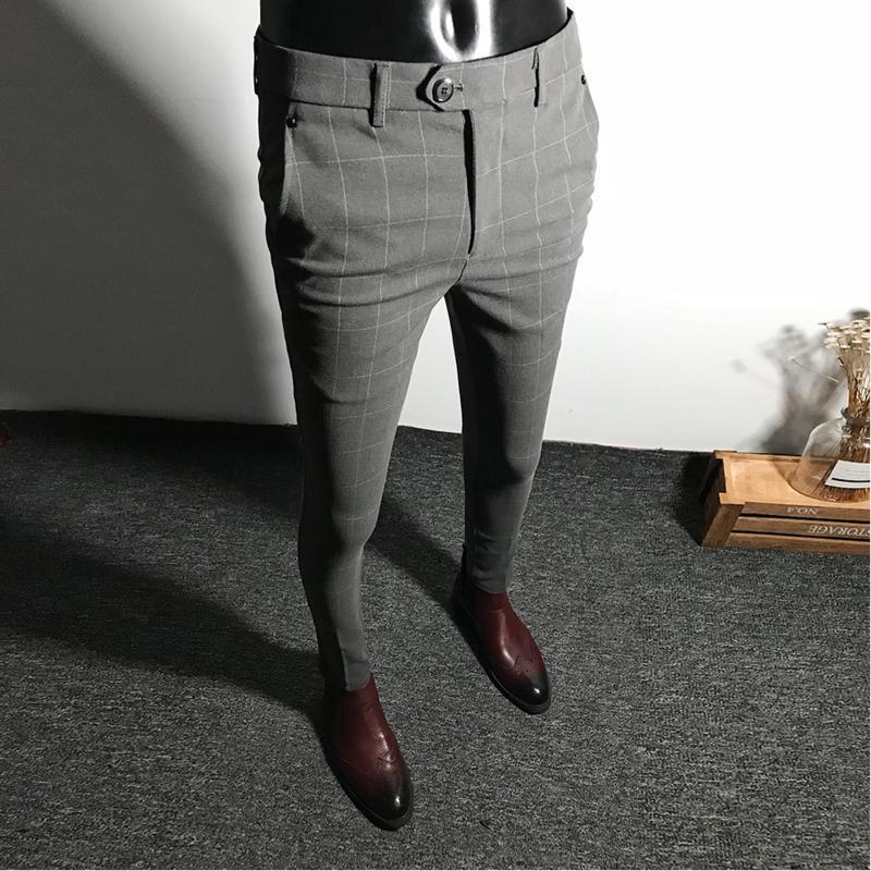 Mens Dress Pants Men Solid Color Slim Fit Male Social Business Casual Skinny Suit Trousers Asian Size 28-34