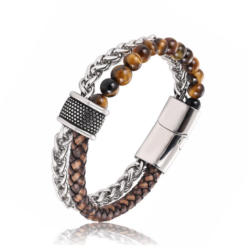 2020 nouveaux hommes de bijoux tressés pierre naturelle bracelet en cuir noir en acier inoxydable magnétique bouton oeil de tigre bracelet homme