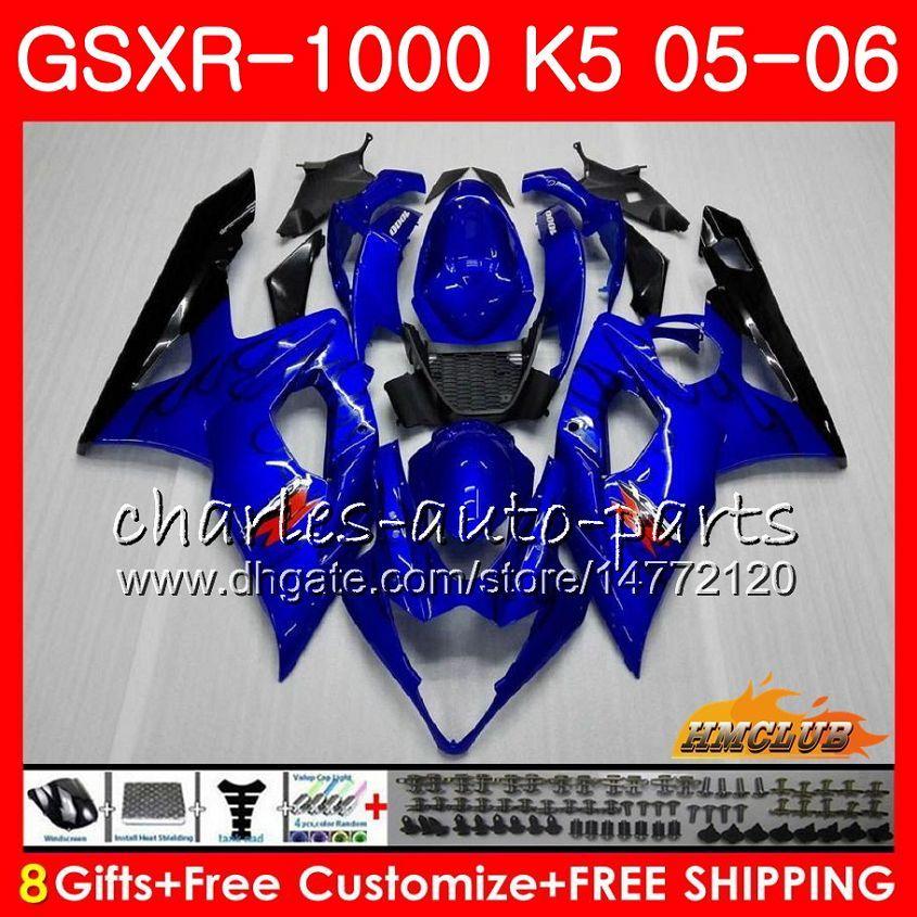 Corps + Cowl Black Flammes Hot for Suzuki GSXR-1000 GSXR 1000 05 06 Bodywork 11HC.8 GSX-R1000 GSXR1000 05 06 K5 GSX R1000 2006 Kit de carénage 2006