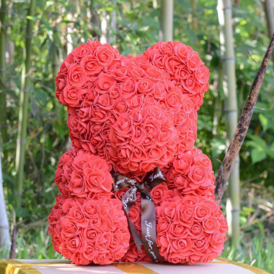 wholesale 40cm Rose Flower Teddy Bear Soap Foam Dolls Artificial Rose Teddi Bear Toys Valentines Day Gift for Girls Dropshipping