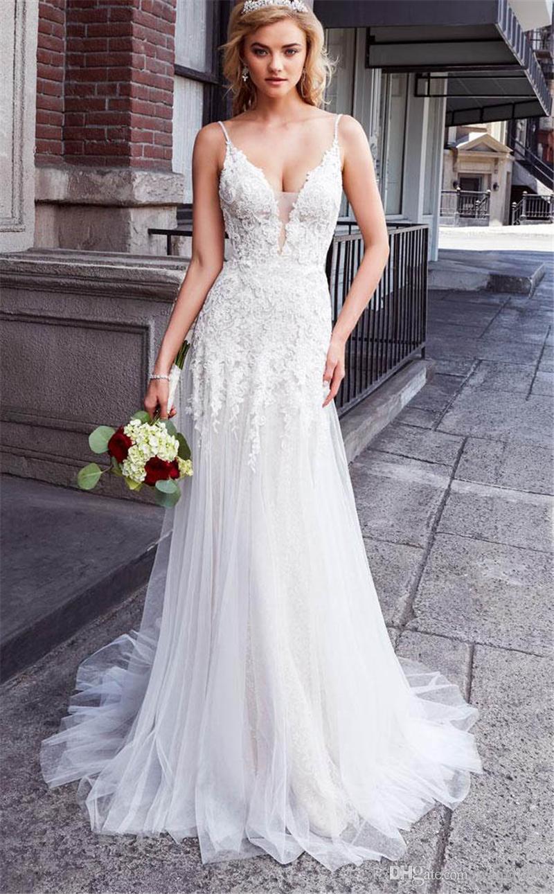 Sexy Bohemian Vestidos de casamento 2019 Bainha Mergulhando V Neck Lace Applique Backless Tulle Biohó vestidos de noiva vestido formal