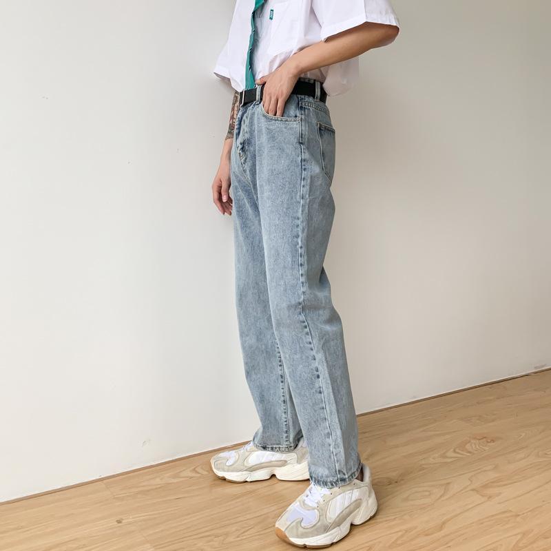 Мужчины Vintage Повседневная Классические джинсы Брюки Мужской ретро хип-хоп Streetwear прямой джинсовой Wide Leg брюки Япония Корея Стиль Pant