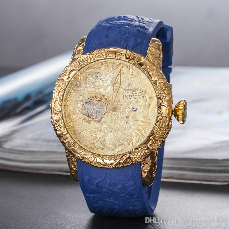 En kaliteli marka İzle Erkekler Lüks Tasarımcı otomatik Tarihi saatı Spor tarzı Askeri silikon Büyük dijital Erkek hayvan Saat mens