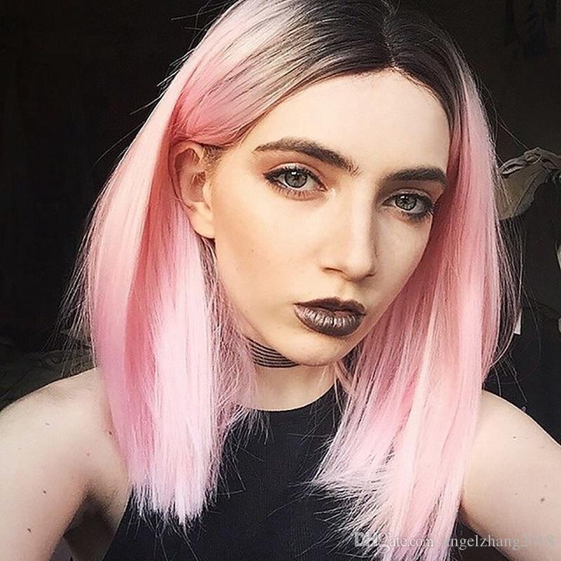 Kadın Kısa Paragraf Peruk Kademeli Değişim Bob Saç kesimi Peruk Kapak Düz Saç Şapkalar Yüksek Sıcaklık Tel Sigara Ütü